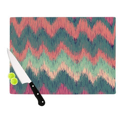 "Kess InHouse - Nika Martinez ""Ikat Chevron"" Multicolor Cutting Board (11"" x 7.5"") - These sturdy tempered glass cutting boards will make everything you chop look like a Dutch painting. Perfect the art of cooking with your KESS InHouse unique art cutting board. Go for patterns or painted, either way this non-skid, dishwasher safe cutting board is perfect for preparing any artistic dinner or serving. Cut, chop, serve or frame, all of these unique cutting boards are gorgeous."