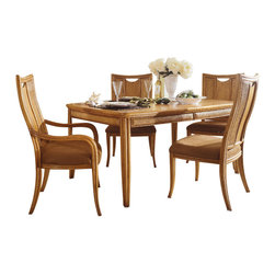 American Drew - American Drew Antigua 6 Piece Leg Table Dining Room Set in Toasted Almond - Antigua combines popular materials, finishes, hardware and shapes and blends them with pieces for today's lifestyles. It is a collection sure to add a sophisticated coastal or tropical flare to any home. Unique options for bedroom make it easy to create the perfect setting that fits your style.
