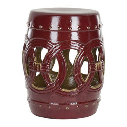 Safavieh - Malta Garden Stool - Indoors or out, this classic Chinese garden stool design lends a touch of Feng Shui serenity.   Inspired by the Asian linked coin motif believed to bring good luck, our Double Coin stool is lustrous in deep red wine-colored high fired ceramic.