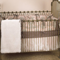 Cotton Tale Designs - Nightingale 4 Piece Crib Bedding Set - A quality baby bedding set is essential in making your nursery warm and inviting. All N. Selby patterns are made using the finest quality materials and are uniquely designed to create an elegant and sophisticated nursery. Nightingale is absolutely breath taking and beautiful, a soft classic nursery with cotton percale bumper in subtle pink, gray and charcoal. Bumper has 4 sections with attached bows. Bumper pieces measures two long sections 52 x 11 inches and 2 short sections 26 x 11 inches. Sheet is in 300 thread count cotton percale with matching cord and ties on bumper. Dust ruffle has underskirt of pin tuck poly satin with a double overlay of champagne tulle. The sets coverlet is soft fancy fur, lined in pink and chocolate dot flange trim. The perfect touch is to add with the set the champagne ruffled mosquito net with bow. What an amazing nursery for your sweet baby girl. Wash gentle cycle, separate, cold water. Tumble dry low or hang dry.