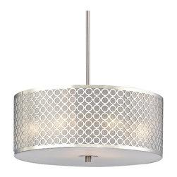 Contemporary Drum Shade Pendant Light with Chrome Metal Shade -