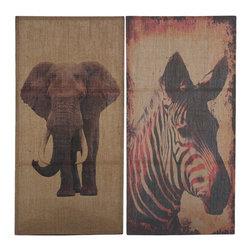 Burlap Wall Decoration Zebra & Elephant - 2pc Burlap Wall Decoration of Zebra & Elephant