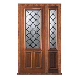 """Pre-hung Side light Door 96 Wood Mahogany Casablanca 2/3 Lite Glass - SKU#P17415-G-DP823CB1-1BrandGlassCraftDoor TypeExteriorManufacturer Collection2/3 Lite Entry DoorsDoor ModelCasablancaDoor MaterialWoodWoodgrainMahoganyVeneerPrice4390Door Size Options  +$percent  +$percentCore TypeDoor StyleDoor Lite Style2/3 LiteDoor Panel Style2 PanelHome Style MatchingDoor ConstructionPortobelloPrehanging OptionsPrehungPrehung ConfigurationDoor with One SideliteDoor Thickness (Inches)1.75Glass Thickness (Inches)Glass TypeTriple GlazedGlass CamingBlackGlass FeaturesTempered , BeveledGlass StyleGlass TextureGlass ObscurityDoor FeaturesDoor ApprovalsWind-load Rated , FSC , TCEQ , AMD , NFRC-IG , IRC , NFRC-Safety GlassDoor FinishesDoor AccessoriesWeight (lbs)498Crating Size25"""" (w)x 108"""" (l)x 52"""" (h)Lead TimeSlab Doors: 7 Business DaysPrehung:14 Business DaysPrefinished, PreHung:21 Business DaysWarrantyOne (1) year limited warranty for all unfinished wood doorsOne (1) year limited warranty for all factory?finished wood doors"""