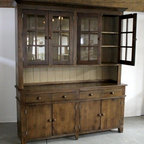FT High Salvaged Rustic Barn Wood Hutch With Glass Doors - Rustic ...