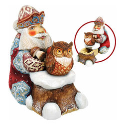 """Saving Up for Winter Santa Claus w/ Owl Wood Carved Sculpture - Measures 5""""H x 5""""L x 4""""W and weighs 1 lb. G. DeBrekht fine art traditional, vintage style sculpted figures are delightful and imaginative. Each figurine is artistically hand-painted with detailed scenes including classic Christmas art, winter wonderlands and the true meaning of Christmas, nativity art. In the spirit of giving G.DeBrekht holiday decor makes beautiful collectible Christmas and holiday gifts to share with loved ones. Every G. DeBrekht holiday decoration is an original work of art sure to be cherished as a family tradition and treasured by future generations. Some items may have slight variations of the decoration on the decor due to the hand painted nature of the product. Decorating your home for Christmas is a special time for families. With G. DeBrekht holiday home decor and decorations you can choose your style and create a true holiday gallery of art for your family to enjoy."""