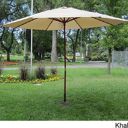 None - Commercial Grade 13-foot Wood Market Umbrella with Base - This large wood patio umbrella features a weather-resistant canopy so you don't have to worry about spring showers. The 13-foot diameter of this umbrella is the perfect size for outdoor entertaining, while the 50-pound base stand inspires confidence.
