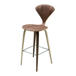 Nuevo Living - Satine Barstool in Walnut by Nuevo - HGEM354 - The Satine Barstool in Walnut features an American walnut veener over bent plywood.