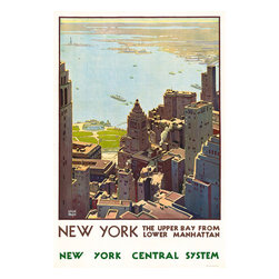 New York Central System Print - Poster from the 1920's promoting train travel. View of lower Manhattan showing the Hudson river. New York; the upper bay from lower Manhattan. New York Central System by Leslie Ragan.
