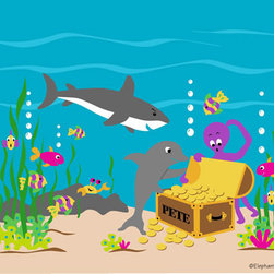 Elephants on the Wall - Sea Treasures Paint by Number Wall Mural - Sea Treasures Paint by Number Wall Mural