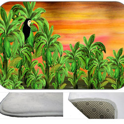 Toucan Banana Plush Bath Mat, 30X20 - Bath mats from my original art and designs. Super soft plush fabric with a non skid backing. Eco friendly water base dyes that will not fade or alter the texture of the fabric. Washable 100 % polyester and mold resistant. Great for the bath room or anywhere in the home. At 1/2 inch thick our mats are softer and more plush than the typical comfort mats.Your toes will love you.