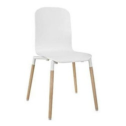 """LexMod - Stack Wood Dining Chair in White - Stack Wood Dining Chair in White - Acquaint yourself with an intelligent piece concealed behind sheer simplicity. Stack exhibits fluid lines and an organic form in a seamless transition from the abstract to the definite. Made from a painted durable steel top and solid beech wood legs, Stack coalesces both form and purpose in a harmoniously designed piece that matches well in any uncomplicated decor. Set Includes: One - Stack Wood Dining Chair Modern dining chair, 25mm steel tube frame, Solid beech wood legs, Foot caps to prevent scratching, No assembly required, Chair Weight Capacity: 330 lb Overall Product Dimensions: 18""""L x 16.5""""W x 34""""H Seat Height: 17.5""""L x 15.5""""W x 17.5""""HBACKrest Dimensions: .5""""L x 16.5""""H - Mid Century Modern Furniture."""