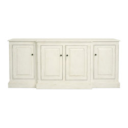 Livingston Sideboard - The sophisticated Livingston Sideboard employs simple lines and beveled molding for a classic look in the bedroom, living room, office or dining room. This impressive buffet boasts a closed center cabinet and side cabinets with one adjustable shelf each. This chic wood furnishing offers versatility to meet your needs either as an entertainment or storage center throughout your home. Shown in  Raw Cotton with Standard Brass Hardware. Our Cottage House Collection is a wonderful blend of antique cottage style furniture that beautifully interpret reproductions through a labour of passion and quality. Using a multi-layered hand lacquering and antiquing process, these heirloom quality furniture pieces are designed to last generations. What makes this collection stand out from the rest is its great attention to detail and alder wood solid construction. Hand applied distress markings artistically mimic normal wear closely representing the original antique piece. The ideal solution to bring an eclectic, old world feeling into today's modern decor!