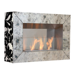 Vintage Aged Mirror Three Burner Wall Fireplace, Black Finish