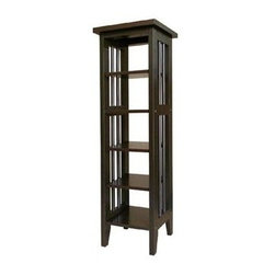 ORE International - 5 Shelf Media Storage Tower w Slatted Sides i - Mission inspired slatted side panels bring a classic, timeless look to this media storage tower, a perfect way to keep your movies and music organized and easily accessible. Constructed of rubberwood in a rich espresso finish, the tower features five fixed shelves. Five fixed shelves. Wood legs. Holds up to 75 DVDs. 75 CD capacity. Made from Rubberwood. Painted espresso finish. 9.75 in. W x 9.75 in. D x 33.5 in. H (11 lbs.)Add style as well as function with this Mission-inspired Media Tower.