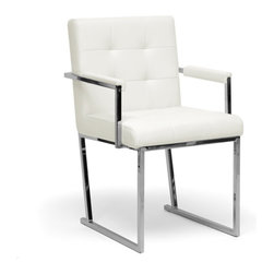 Collins Ivory Mid-Century Modern Accent Chair - Though the years have passed, the innovative style ofeethe mid-1900s still pervades our culture, as is evident in the design of our Collins Accent Chair.  This mid-century club chair is made with a chrome-plated steel frame, an iconic material for furniture construction during that time.  An ivory bonded leather seat and armrests are padded with foam cushioning.  Made in China; fully assembled.  To clean, wipe with a dry cloth.  This style is also offered in black (sold separately). Dimensions: 33.9 inches high x 21.125 inches wide x 22.9 inches d pSeat cushion: 19.44 inches high