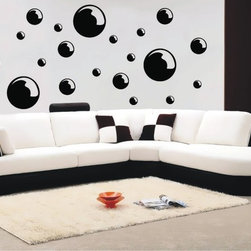 StickONmania - Bubbles Sticker - A trendy bubbles design for your wall. Decorate your home with original vinyl decals made to order in our shop located in the USA. We only use the best equipment and materials to guarantee the everlasting quality of each vinyl sticker. Our original wall art design stickers are easy to apply on most flat surfaces, including slightly textured walls, windows, mirrors, or any smooth surface. Some wall decals may come in multiple pieces due to the size of the design, different sizes of most of our vinyl stickers are available, please message us for a quote. Interior wall decor stickers come with a MATTE finish that is easier to remove from painted surfaces but Exterior stickers for cars,  bathrooms and refrigerators come with a stickier GLOSSY finish that can also be used for exterior purposes. We DO NOT recommend using glossy finish stickers on walls. All of our Vinyl wall decals are removable but not re-positionable, simply peel and stick, no glue or chemicals needed. Our decals always come with instructions and if you order from Houzz we will always add a small thank you gift.