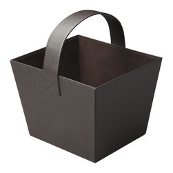 Butler Specialty - Butler Lido Brown Leather Magazine Basket - Beautifully upholstered in richly textured, brown leather with a large arch of a handle, this Magazine Basket is as fashionable as it is functional.