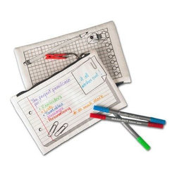 Doodle - Doodle Pencil Case - The Doodle Pencil Case is so much more than a pouch for your pens; it's a notepad, diary, timetable and sketchbook all in one! Decorate this customizable case with doodles, scribbles, designs, and notes and make it your own. When you're ready for a change, just throw it in the wash and your drawings will disappear leaving you with a blank canvas for even more creativity!