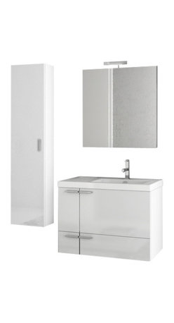 ACF - 31 Inch Glossy White Bathroom Vanity Set - Set Includes: Vanity Cabinet (2 Doors,1 Drawer), high-end fitted ceramic sink, wall mounted vanity mirror, tall storage cabinet.