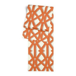 Orange Trellis Custom Table Runner - Get ready to dine in style with your new Simple Table Runner. With clean rolled edges and hundreds of fabrics to choose from, it's the perfect centerpiece to the well set table. We love it in this oversized outdoor modern trellis in orange and gray. Phew, no pruning needed!