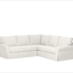"""PB Comfort 3-Piece L Shaped Sectional Slipcovers, Washed Linen/Cotton White - Designed exclusively for our PB Comfort Sectional, these soft, inviting slipcovers retain their smooth fit and remove easily for cleaning. Left 3-Piece Sectional with Box Cushions shown. Select """"Living Room"""" in our {{link path='http://potterybarn.icovia.com/icovia.aspx' class='popup' width='900' height='700'}}Room Planner{{/link}} to select a configuration that's ideal for your space. This item can also be customized with your choice of over {{link path='pages/popups/fab_leather_popup.html' class='popup' width='720' height='800'}}80 custom fabrics and colors{{/link}}. For details and pricing on custom fabrics, please call us at 1.800.840.3658 or click Live Help. All slipcover fabrics are hand selected for softness, quality and durability. Left-arm configuration is shown; also available in right-arm configuration. {{link path='pages/popups/sectionalsheet.html' class='popup' width='720' height='800'}}Left-arm or right-arm configuration{{/link}} is determined by the location of the arm on the love seat as you face the piece. This is a special-order item and ships directly from the manufacturer. To see fabrics available for Quick Ship and to view our order and return policy, click on the Shipping Info tab above. Watch a video about our exclusive {{link path='/stylehouse/videos/videos/pbq_v36_rel.html?cm_sp=Video_PIP-_-PBQUALITY-_-SUTTER_STREET' class='popup' width='950' height='300'}}North Carolina Furniture Workshop{{/link}}."""