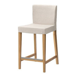 Karl Malmvall/IKEA of Sweden - HENRIKSDAL Bar stool with backrest - Bar stool with backrest, oak, Linneryd natural