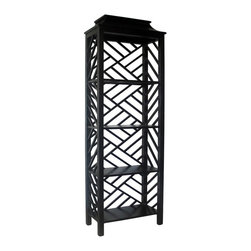 Noir Meiling Hand-Rubbed Black Bookcase - I love this open fretwork design — it would be a showstopper in any room! I'd especially love to see it filled with a few chinoiserie items.