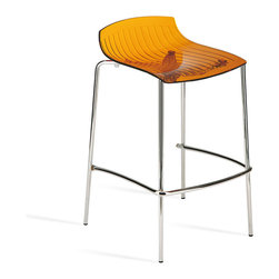 Papatya - X-Treme-BSS Short Back Barstool, Transparent Orange - X-Treme-BSS Short Back Barstool