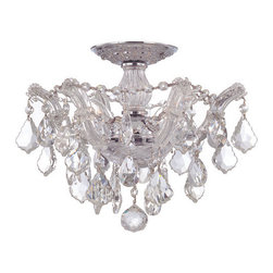 Crystorama Lighting Group - Crystorama Lighting Group 4430-CL Maria Theresa 3 Light Crystal Semi-Flush Ceili - Crystorama 4430-CL Crystal Three Light Semi-Flush Ceiling Fixture from the Maria Theresa CollectionMaria Theresa Semi Flush Mount Draped in Golden Teak or Clear Crystal of your choice.Classic Maria Theresa design styles with a modern twist. For centuries, Maria Theresa style of crystal chandeliers have been a sign of wealth, style, and class. In keeping with the time honored traditions of our European artisans, Crystorama's Maria Theresa collection offers a variety of finishes and crystal combinations.Features: