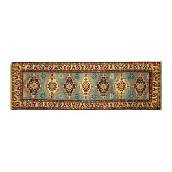 Manhattan Rugs - Geometric Hand Knotted Wool Super Kazak 2'x6' Baby Blue Oriental Area Rug H5294 - Kazak (Kazakh, Kasak, Gazakh, Qazax). The most used spelling today is Qazax but rug people use Kazak so I generally do as well.The areas known as Kazakstan, Chechenya and Shirvan respectively are situated north of  Iran and Afghanistan and to the east of the Caspian sea and are all new Soviet republics.   These rugs are woven by settled Armenians as well as nomadic Kurds, Georgians, Azerbaijanis and Lurs.  Many of the people of Turkoman origin fled to Pakistan when the Russians invaded Afghanistan and most of the rugs are woven close to Peshawar on the Afghan-Pakistan border.There are many design influences and consequently a large variety of motifs of various medallions, diamonds, latch-hooked zig-zags and other geometric shapes.  However, it is the wonderful colours used with rich reds, blues, yellows and greens which make them stand out from other rugs.  The ability of the Caucasian weaver to use dramatic colours and patterns is unequalled in the rug weaving world.  Very hard-wearing rugs as well as being very collectable