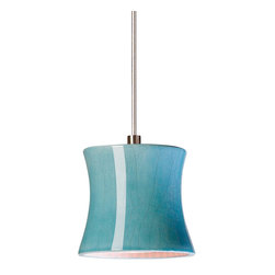 A19 - Sake Mini Pendant Teal Crackle- Without Canopy - A19's tiny Sake Mini Pendant is perfect for any contemporary or Asian-influenced setting. The glossy Teal Crackle glaze is great for adding a little accent color and shows off its smooth surface and gentle curving sides beautifully. The hang straight sleeve slides over the coaxial cord creating a refined aesthetic and the opaque ceramic shade blocks glare while providing generous energy efficient down-lighting.