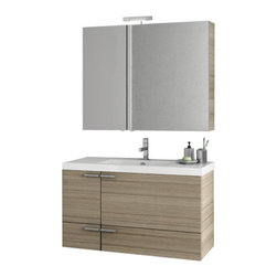 ACF - 39 Inch Larch Canapa Bathroom Vanity Set - If you want a bathroom vanity, why not consider this luxurious bath vanity from the ACF New Space collection? Perfect for more contemporary settings, this high-end bath vanity is wall and finished in larch canapa.