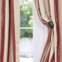 Manchester Faux Silk Taffeta Stripe Curtain - The Faux Silk Taffeta Stripe drapes & curtains can be a bold or subtle statement to any room depending on your color choice. Whether you want to create a dramatic statement or just to enhance your current décor a stripe is always a nice way to go. Be bold and go with a multi color stripe. Or just update an space with a 2 color stripe.