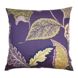 """The Pillow Collection - Delia Floral Pillow Purple - This lovely floral pillow lends a fun and vibrant look to your space with its deep purple hue. Finished with yellow and green colored floral patterns, this decor pillow makes your living room and bedroom inviting. Bring a casual vibe to your interiors by layering this 18"""" pillow with other colors and textures. Made of 100% soft and high-quality cotton material. Hidden zipper closure for easy cover removal.  Knife edge finish on all four sides.  Reversible pillow with the same fabric on the back side.  Spot cleaning suggested."""