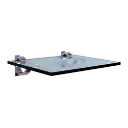 """Expo Design Inc. - Curve Clip Kit, 10""""x12"""" - 10""""x12""""x 3/8"""""""" thick tempered glass shelf pre packaged with a set of Curve Clips. (can be mounted in 10x12 or 12x10 direction)"""