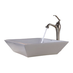 Kraus - Kraus White Square Ceramic Sink and Ventus Faucet Brushed Nickel - *Add a touch of elegance to your bathroom with a ceramic sink combo from Kraus