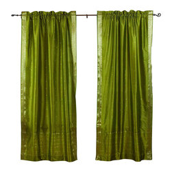Indian Selections - Pair of Olive Green Rod Pocket Sheer Sari Curtains, 43 X 63 In. - Size of each curtain: 43 Inches wide X 63 Inches drop.
