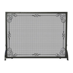 Uniflame - Uniflame S-1025 Single Panel Black Wrought Iron Screen w/ Decorative Scroll - Single Panel Black Wrought Iron Screen w/ Decorative Scroll belongs to Fireplace Accessories Collection by Uniflame