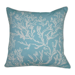 "Loom and Mill - Loom and Mill P0011-1818P 18"" x 18"" Light Blue Coral Decorative Pillow - Inspired by the ocean, these coral motif decorative pillows combine nature and design. Perfect for any home.  Spot clean only."