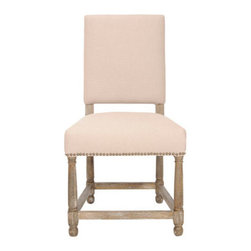 "Horchow - Two ""Faxon"" Linen Side Chairs - Side chair with clean and simple lines makes an ideal solution for the dining table or extra seating anywhere around the house. Pale beige linen upholstery with nailhead trim. Frame is made of oak wood with a pickled-oak finish. Sold in pairs; each,..."
