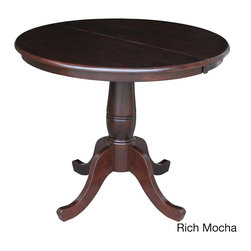 None - Round 36-inch Pedestal Table with 12-inch Leaf - This round table comes with a 12-inch leaf to allow the butcher block top to expand to 36 inches by 48 inches,allowing for more seating. Four sturdy feet hold up the handsome pedestal base for maximum support.