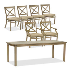 Thos. Baker - catalina 7pc dining set - The catalina collection features subtly weathered heavy-gauge aluminum frames, elegantly set-off with romantic accents and a classic crossback style.