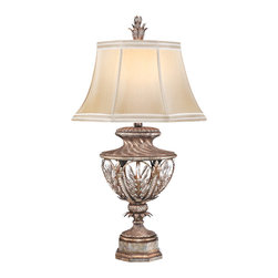 Fine Art Lamps - Winter Palace Table Lamp, 301810ST - Let this exquisite table lamp shed new light on your favorite setting. It's constructed of steel with a warm antiqued silver finish and features brilliant lead crystal touches and a hand-sewn silk shade.