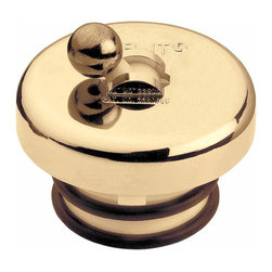 "The Renovators Supply - Tub Stoppers Bright Brass Ball Flip Top Tub Stopper | 19795 - Flip it stopper keeps the water in your tub! Fits drains 1 3/8"" - 1 5/8"". No tools needed. Brass finish. Drain ring not included."