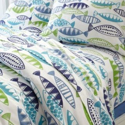 Garnet Hill - Garnet Hill Poisson Jersey-Knit Sheets - Twin Extra Long - Fitted - Blue Multi - Groovy graphic fish go swimmingly with the rest of our comfy T-shirt jersey bedding. A great year-round option knit of fine combed-cotton yarns for softness, with a tighter construction than most for a smoother, more substantial hand. Higher-quality jersey knit sheets look great wash after wash and won't twist on the mattress. Clean double-stitched finish. Fitted sheet is fully elasticized for a better fit.