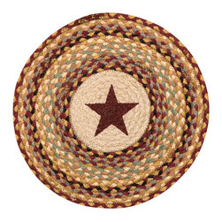Earth Rugs - CH-357 Burgundy Star Round Chair Pad 15.5in. - Burgundy Star Round Chair Pad 15.5 in.