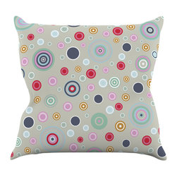 "Kess InHouse - Suzanne Carter ""Circle Circle I"" Gray Multicolor Throw Pillow (16"" x 16"") - Rest among the art you love. Transform your hang out room into a hip gallery, that's also comfortable. With this pillow you can create an environment that reflects your unique style. It's amazing what a throw pillow can do to complete a room. (Kess InHouse is not responsible for pillow fighting that may occur as the result of creative stimulation)."