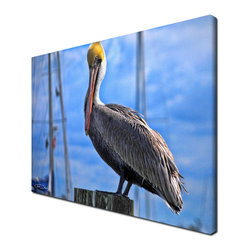 Ready2HangArt - Ready2hangart Chris Doherty 'Pelican' Canvas Wall Art - The 'Pelican' canvas art depicts a perched bird on wooden post against a clear sky. This canvas features a tropical theme and is gallery-wrapped canvas for a contemporary look.
