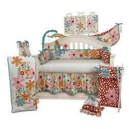 Cotton Tale Designs - Lizzie 7pc Crib Bedding Set - The Lizzie 7pc crib bedding set by Cotton Tale Designs has lots of color in a bright cotton motif.  Large appliquéd daisies accompany a patchwork of big dot red, small red dot and a fancy contemporary floral. Accents in bright turquoise. Perfect for a little girl's room.