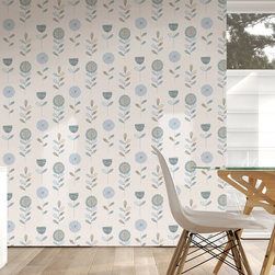 Graham & Brown - Floral Sketch Wallpaper - We have created a beatuiful floral wallpaper with bold but suttle colours, this would look good as a feature wall and all 4 walls, the mixture between the green and a white background make them stand out.